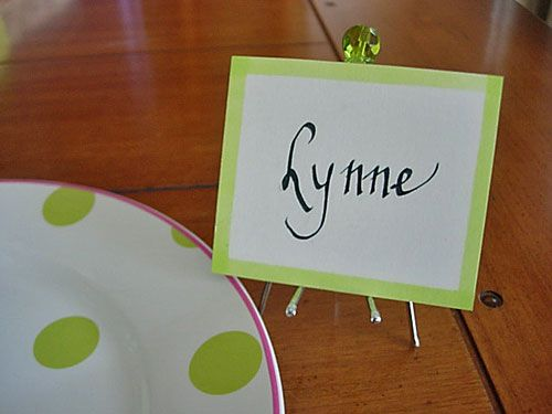 Curtain hook placecard holder at InMyOwnStyle