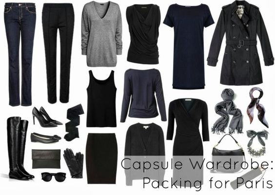 What to wear to Paris. A capsule wardrobe for traveling to Paris, France and other parts of Europe all in a carry on luggage for a trip.