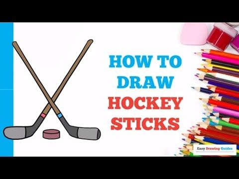 How To Draw Hockey Sticks In A Few Easy Steps Drawing Tutorial For Kids And Beginners Hockey Stick Drawing Tutorials For Kids Hockey Drawing