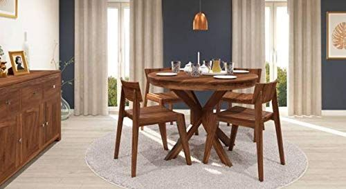 Sheesham Wood 4 Seater Dining Table Set For Dining Room Brown