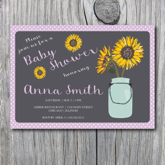 Baby Shower Lavender Purple Polka Dots Sunflower by irinisdesign
