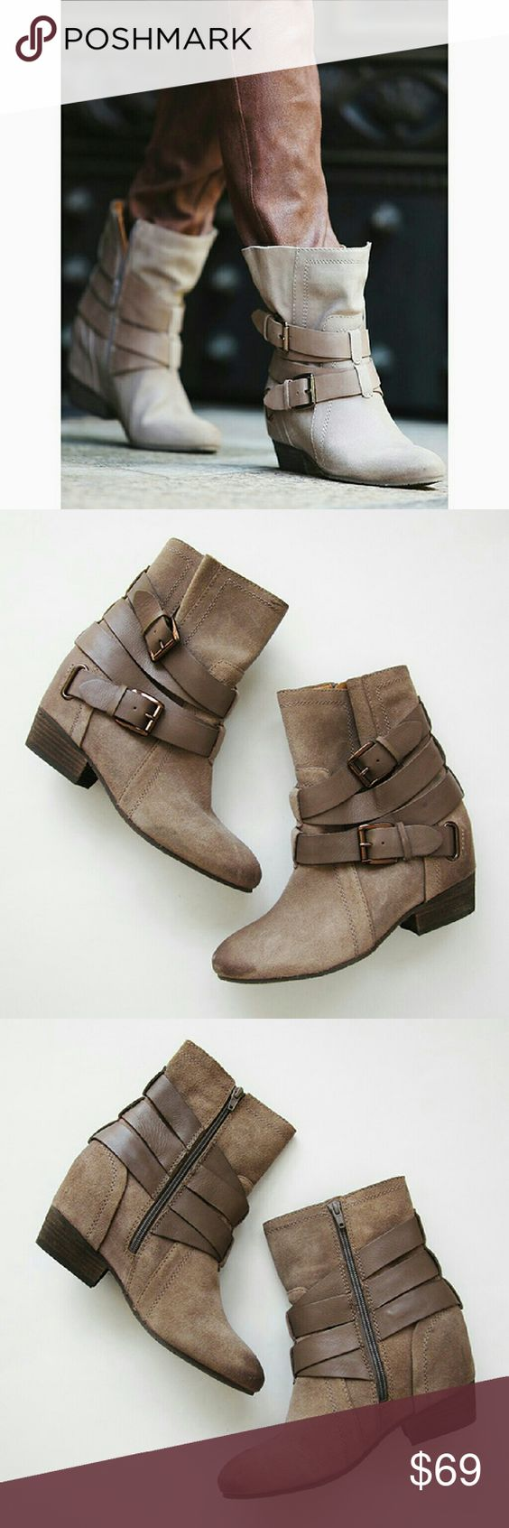 FP NAYA Harlin Hidden Wedge Suede Buckle Boot Suede ankle boots with a hidden wedge. There are some blemishes and marks on the suede but have lots of life left! Brand is Naya. Free People Shoes Ankle Boots & Booties