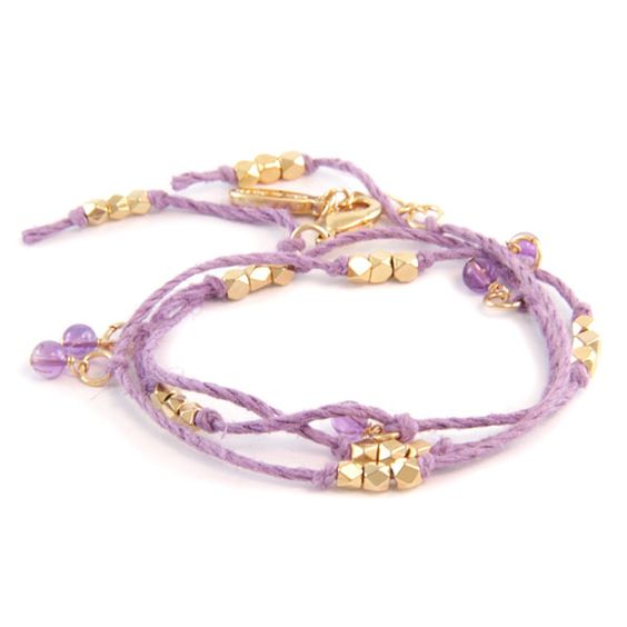Natural Purple Hemp Wrap Bracelet with Amethyst Semi Precious Stones and Bead Accent Combo #bracelet #layer #armswag #armparty #stack