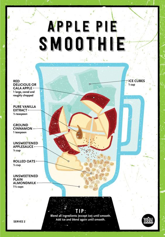 Apple Pie Smoothie // Hearty and gently sweet, this morning smoothie combines the classic flavors of apples, cinnamon and oats. Perfect for breakfast, lunch or dinner... Whenever you're hungry!