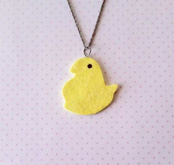 Polymer Clay Marshmallow Chick Necklace