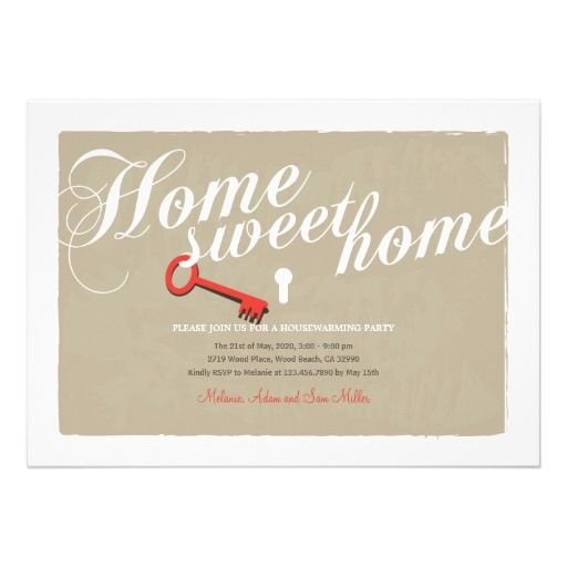 Calligraphy Text Key Lock Housewarming Invitation  Home Is Where