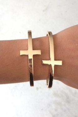 Gold cross bracelets