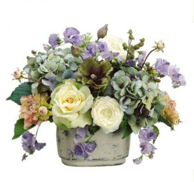 Blue Cream and Green Rose and Hydrangea Silk Floral Centerpiece-ARWF1218 #silkhydrangeas