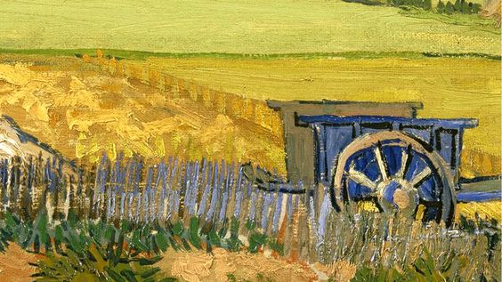 """Blue Cart by Fence"" - Van Gogh Brushstrokes - New 1366×768 Background from PassiontoLearn.com ""Discover Knowledge"""