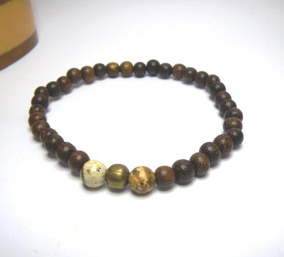 Bracelet pour homme en perles en bois de Roblès et pierres fines de  ~ Bracelet En Bois Homme