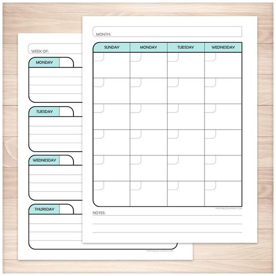 Printable blank planner teal facing calendar pages for your weekly and monthly planning. Printable blank monthly and weekly planner pages designed in a black, light teal, and gray color scheme. These