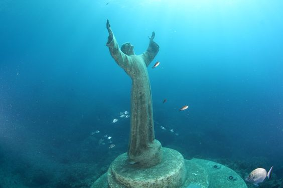 Il Cristo degli Abissi, bahía de San Fruttuoso, Liguria