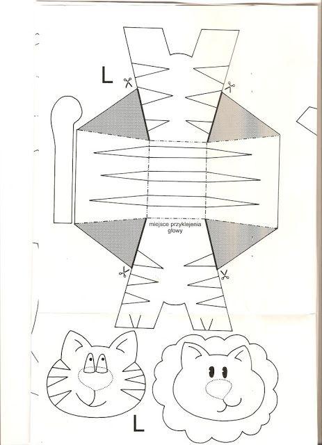 León y tigre. Juguetes de papel.: