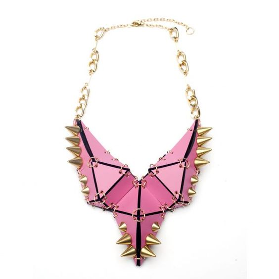 Studded Stegosaurus Necklace in Pink