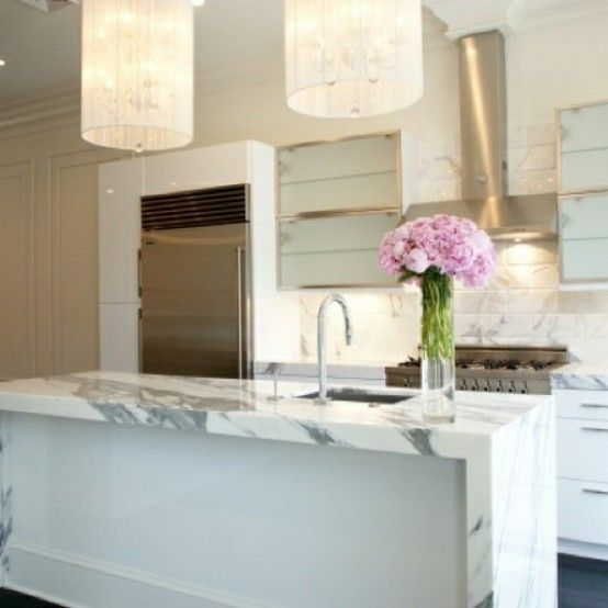 great white marble counter