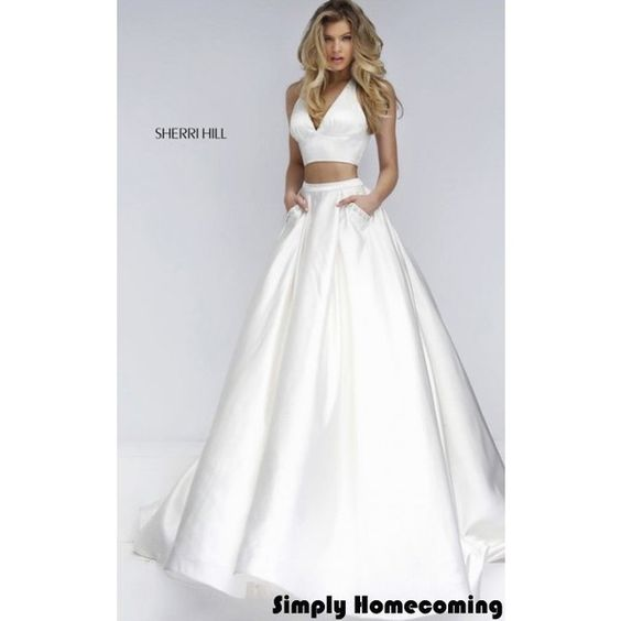 2016 Ivory Two Piece Ball Gown by Sherri Hill 50053 ❤ liked on Polyvore featuring dresses, gowns, ivory gown, two piece gown, two piece evening gowns, two-piece dress and white two piece dress