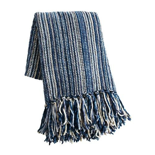 Streamers Blue Chenille Throw