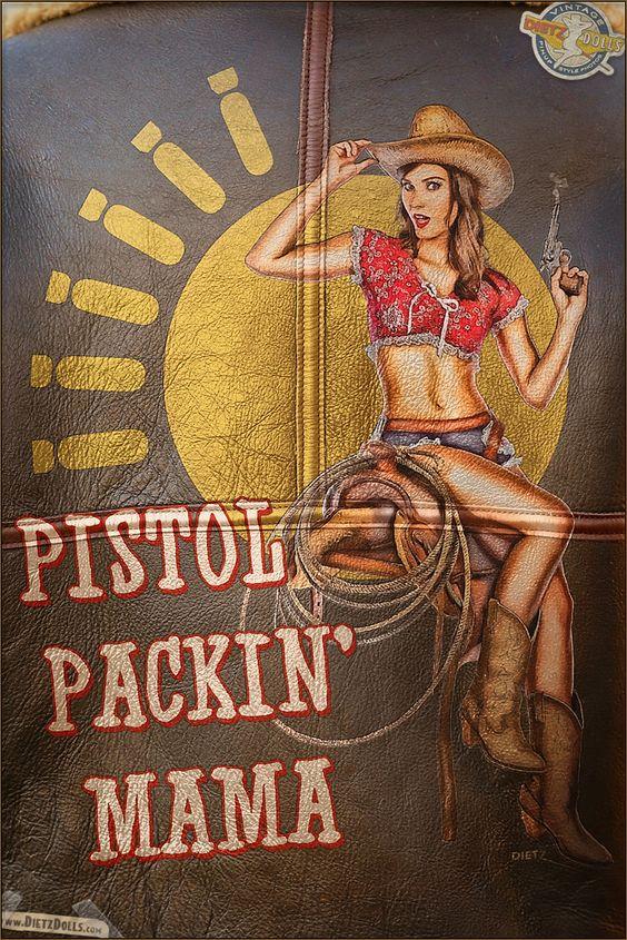 "B-3 Flight Jacket ""Pistol Packin' Mama"" Pin Up by Dietz Dolls:"