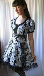 black Dark Alice in Wonderland gothic lolita lace dress CUSTOM