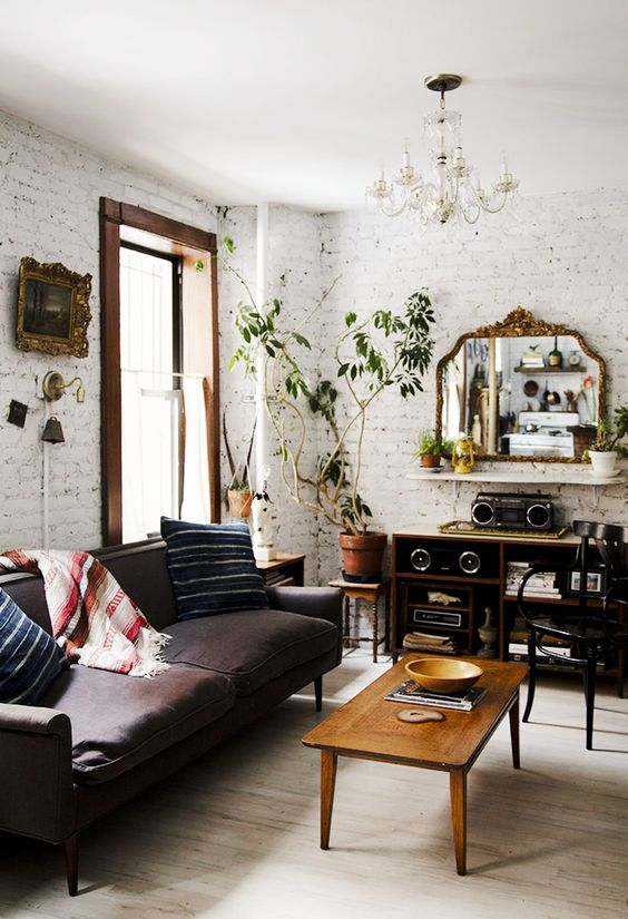 rustic living room with painted white brick walls and dark furniture brick living room furniture