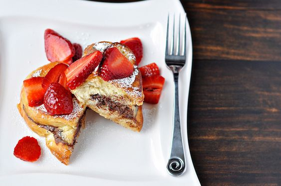 Stuffed Nutella French Toast with Strawberries.