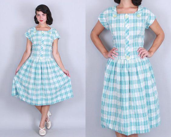 1950er Jahre AQUA KARIERTE Kleid  Vintage 50er von DuetVintage
