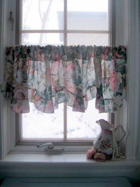 Small Window Curtain Valance Frilled Roses Curtain Window Topper Shabby Chic Curtain Valance Small Window Curtains Shabby Chic Curtains Romantic Home Decor