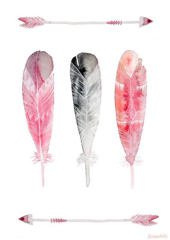 Print three feathers   8.3x11.7 by TreeChild on Etsy