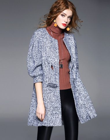 Gray Wool Blend Abstract 3/4 Sleeve Coat