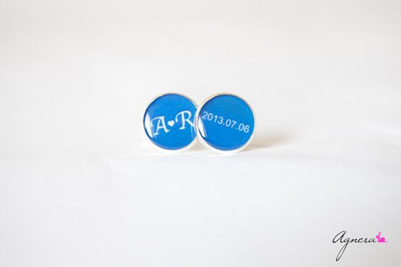 Groom cufflinks for weddings Personalized cufflinks by Agnera #groom #cufflinks #cuff #man #him #weddings #personalized #date #name #initials #love #blue