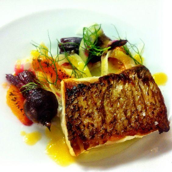 Snapper fillet, confit beetroot, burnt orange, fennel salad orange dressing