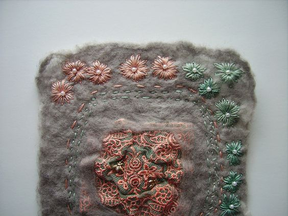 embroidered nuno felt by ACraftyHistorian, via Flickr
