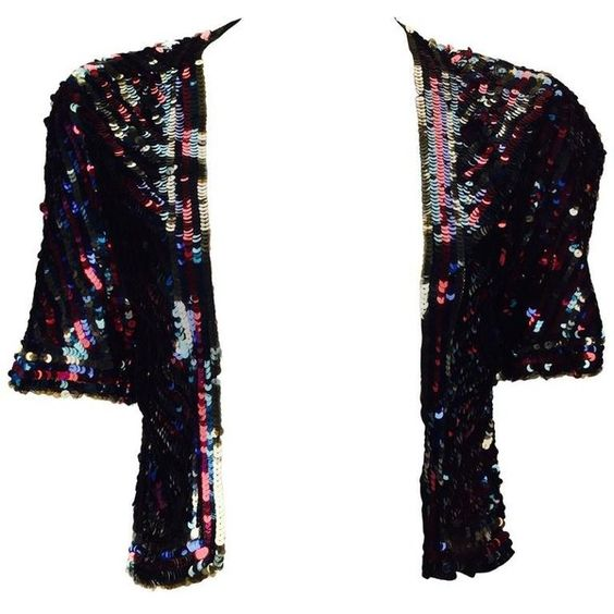 Preowned 1940s Multicolor Sequin Short Sleeve Bolero ($485) ❤ liked on Polyvore featuring outerwear, jackets, multiple, multi color jacket, disco jacket, colorful jackets, white sequin jacket and sequin jacket