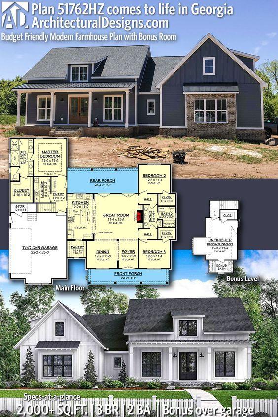 Plan 51762hz Budget Friendly Modern Farmhouse Plan With Bonus Room Modern Farmhouse Plans Farmhouse Plans Architectural Design House Plans