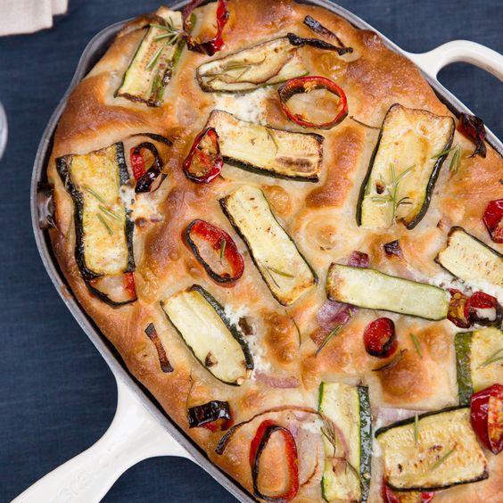 Zucchini, Red Onion, and Ricotta Focaccia | MyRecipes