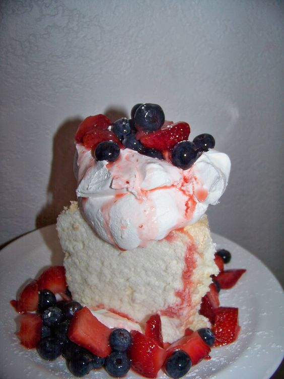 Red, White, and Blue Angel Food Cake