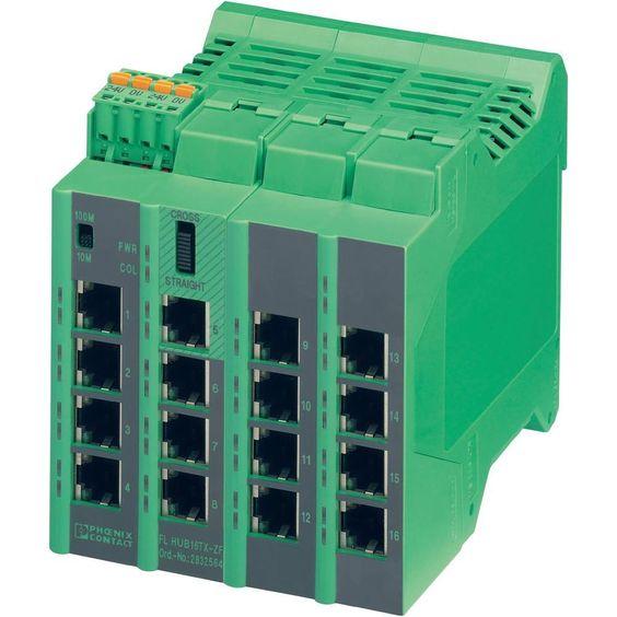 Phoenix Contact Ethernet Hub 2832564 24 V/DC Anzahl Ethernet Ports 16 Anzahl LWL Ports 0 Porttyp Ethernet 10/100 MBit/s