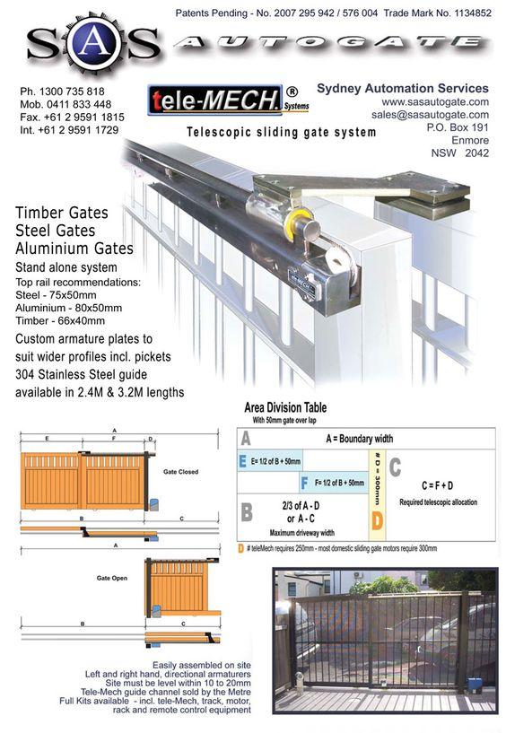 Telescoping Gate Mechanism Tele Mech Dual Sliding Gate