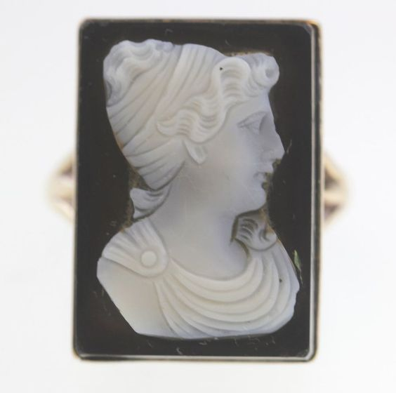 ANTIQUE BLACK ONYX LADIES GREEK CAMEO RING 14K YELLOW GOLD LARGE RECTANGLE