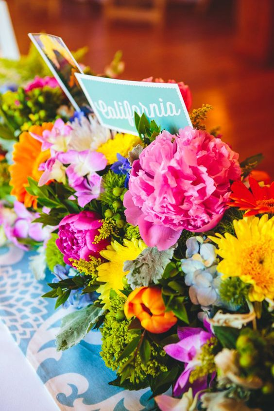 bright floral centerpiece // photo by The Goodness, flowers by El Dorado Floral Design // View more: http://ruffledblog.com/colorful-foresthill-wedding/