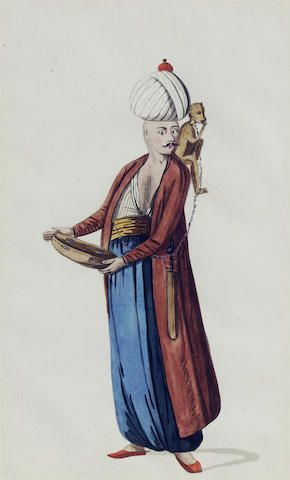 Six coloured drawings of Ottoman costumes including those of the keeper of the wild beasts of the Grand Vizier etc., Turkey, c 1800.