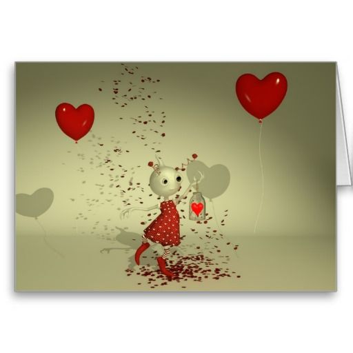 "The Captured Heart Valentines Day Card. Whimsical Whimsy ""Valentines Day"" ""Valentines Art"" Love Romance Romantic ""Cute Alien"" ""Red Balloons"" ""Love Hearts"""