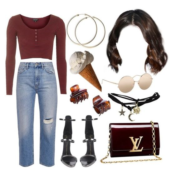 8:41 pm by georgia78 on Polyvore featuring polyvore fashion style Topshop Wet Seal M.i.h Jeans Giuseppe Zanotti Louis Vuitton Linda Farrow John Lewis CC clothing