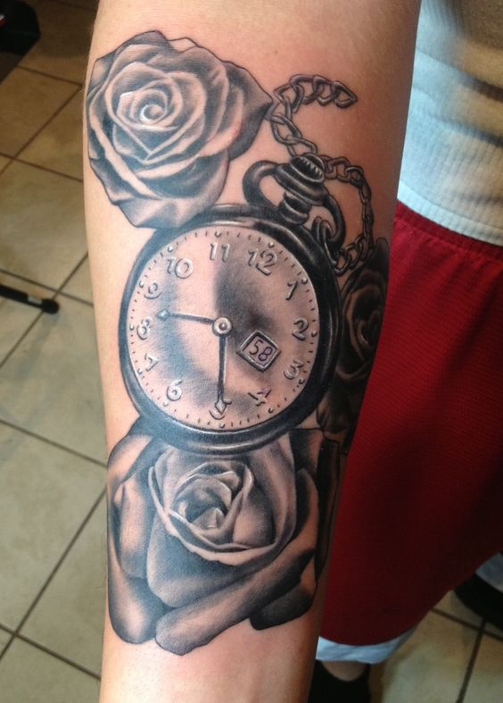 Pocket watch rose tattoo by alix rivera in orlando for Fallen sparrow tattoo