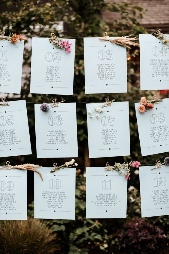 Wedding seating chart with stems of flowers to decorate | Image by Vivienne Tyler Photography