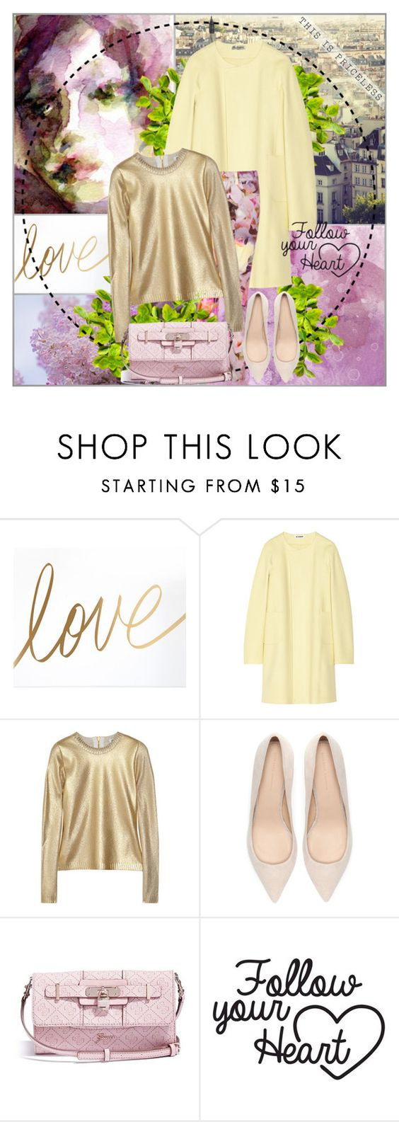 """""""sweet love"""" by sinceraaa ❤ liked on Polyvore featuring Jil Sander, Ted Baker, Moschino, Zara and GUESS"""