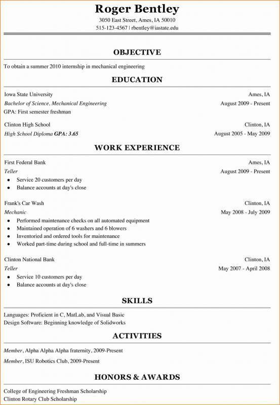 Resume For College Freshman
