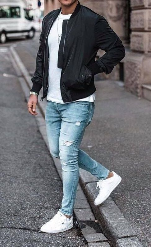 Great Simple Look In 2020 Mens Casual Outfits Denim Sweater Denim Shirt With Jeans