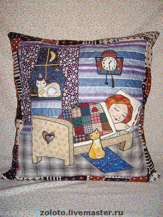 """Купить Наволочка """"Сладкий сон"""" - декоративная подушка, сон, сказка, детская, Кошки, ночь, уют:"""