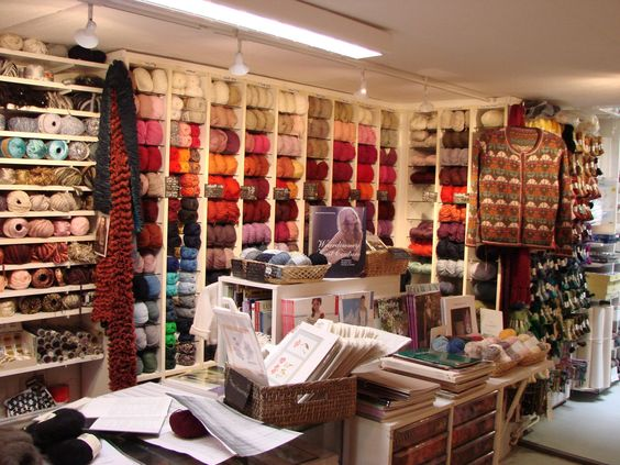De Afstap, with lots of knitting and other needlecraft stuff in the center of Amsterdam